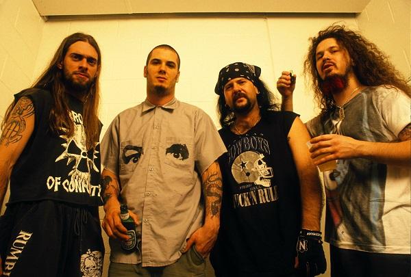 Pantera (as if you didn't know) Rex Brown, Philip Anselmo, Vinnie Paul, Dimebag Darrell Abbott Photo by Joe Giron